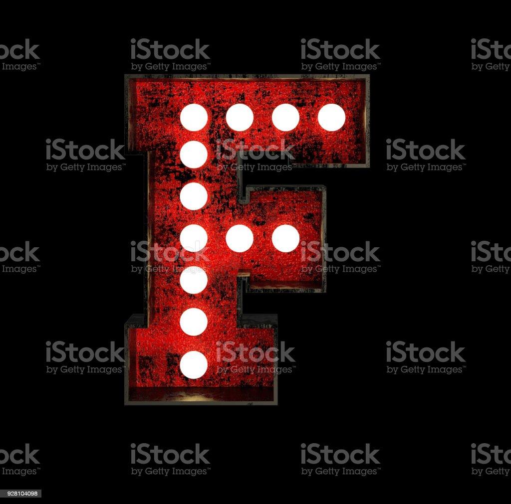 Letter F. Broadway Style Light Bulb Font stock photo