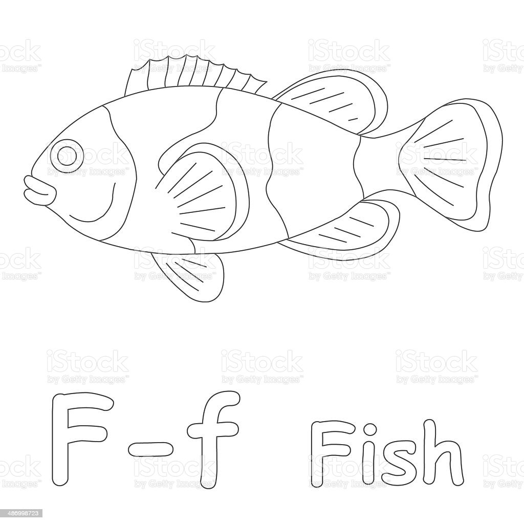 Letter F For Fish Coloring Page Stock Photo More Pictures Of - F-is-for-fish-coloring-page