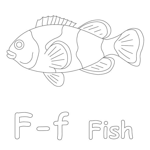 letter f for fish coloring page - colouring book stock photos and pictures