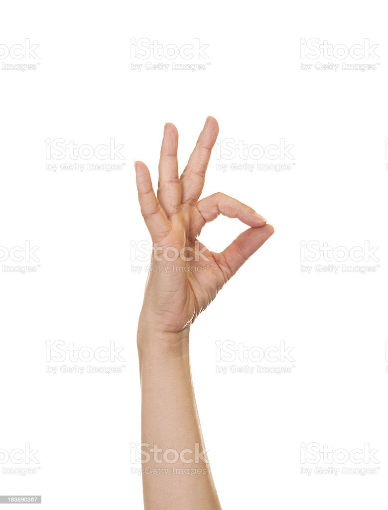 Letter F in American Sign Language royalty-free stock photo