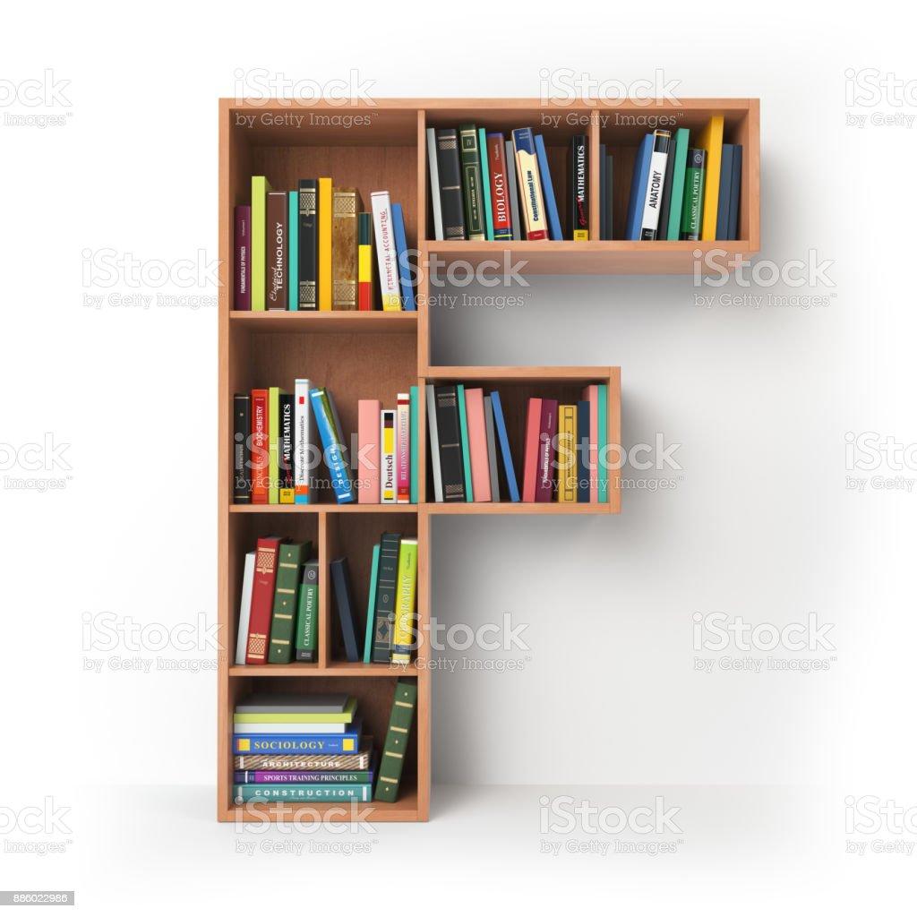 Buchstabe F in der Form der Regale mit Büchern, die isoliert auf weiss. – Foto