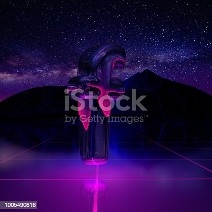 istock Letter F lowercase. 3D render font on retro background futuristic landscape 1980s style. 1005490816