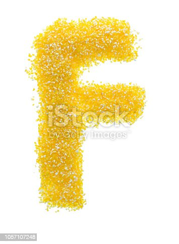 Letter F made with corn grits.