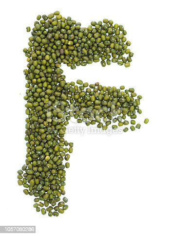 Letter F made with mung beans.