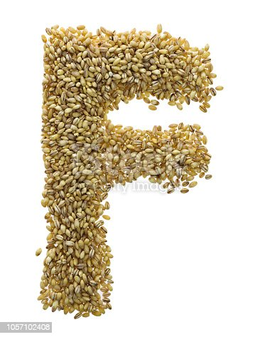 Letter F made with wheat grains.