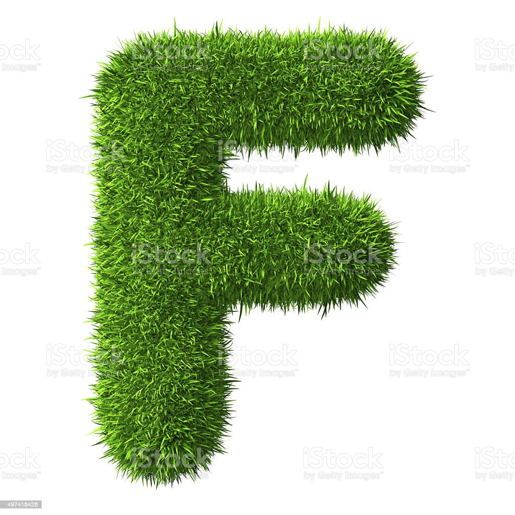Letter F of grass stock photo