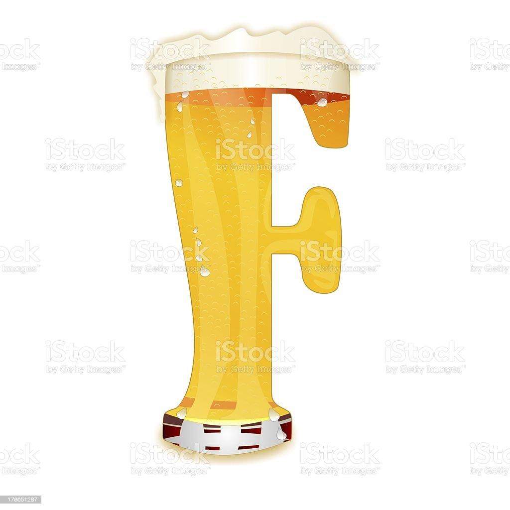 BEER ALPHABET letter F stock photo