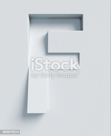 istock Letter F slanted 3d font engraved and extruded from surface 583978224