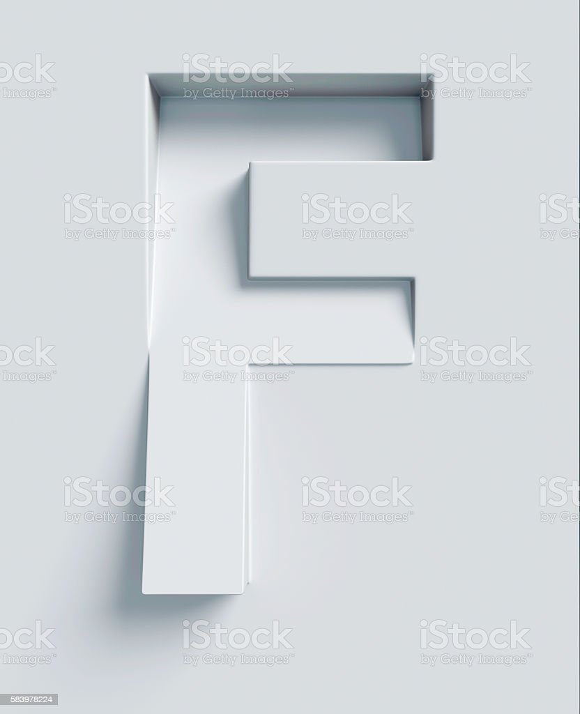 Letter F slanted 3d font engraved and extruded from surface stock photo