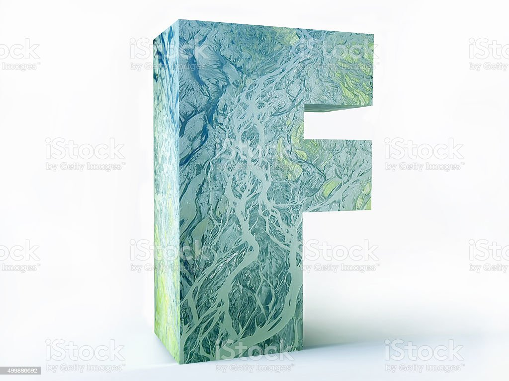 Letter F with Ecological Pattern stock photo