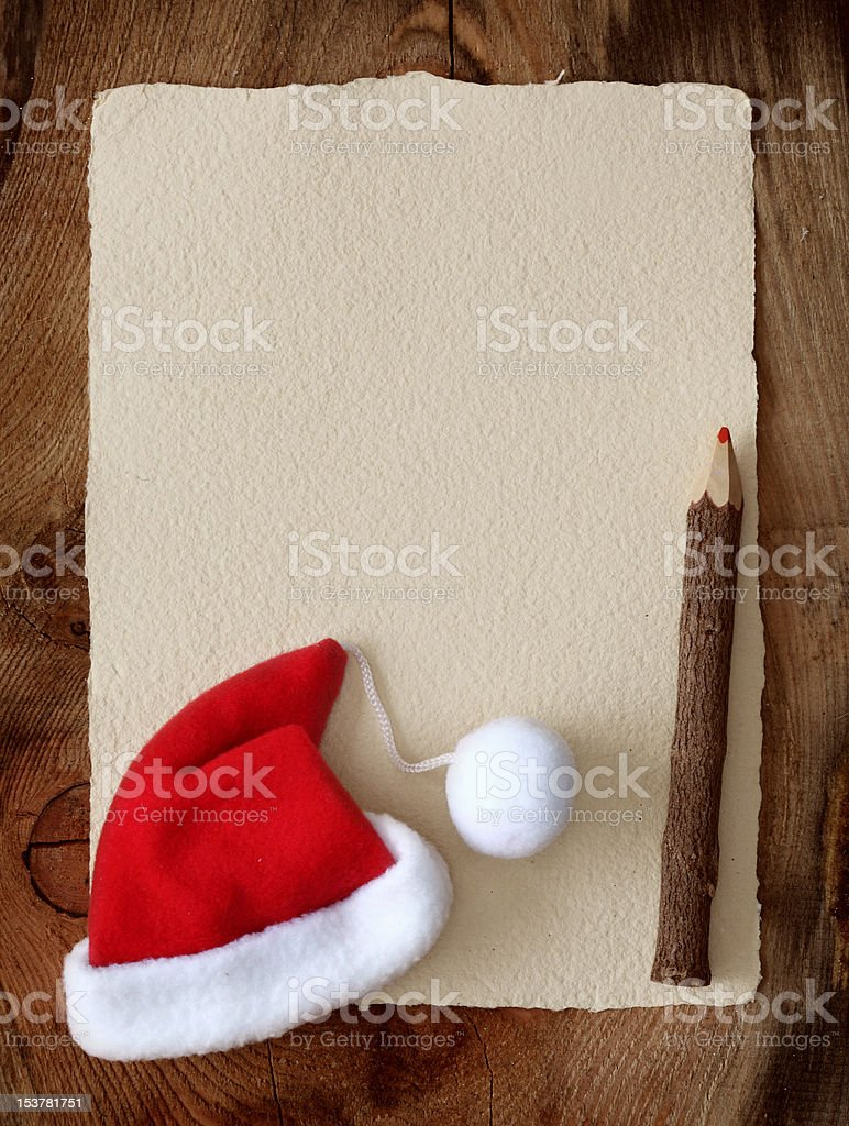 Letter for santa with old parchment stock photo