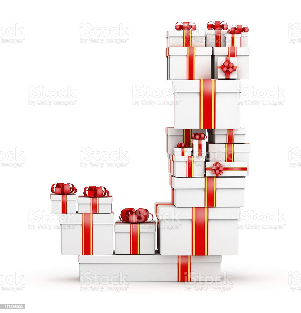 Letter from boxes of gifts decorated with red ribbons royalty-free stock photo