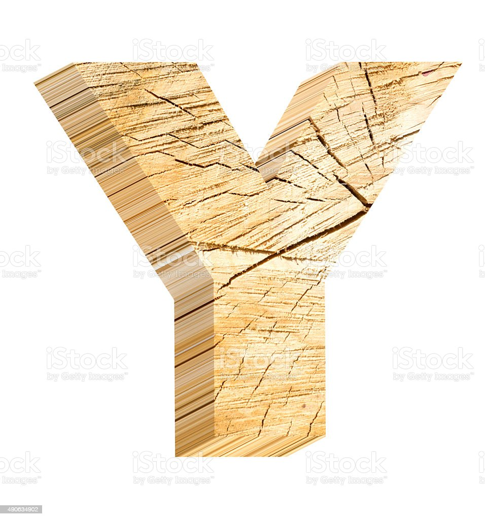 Letter from pine wood alphabet set isolated over white. stock photo