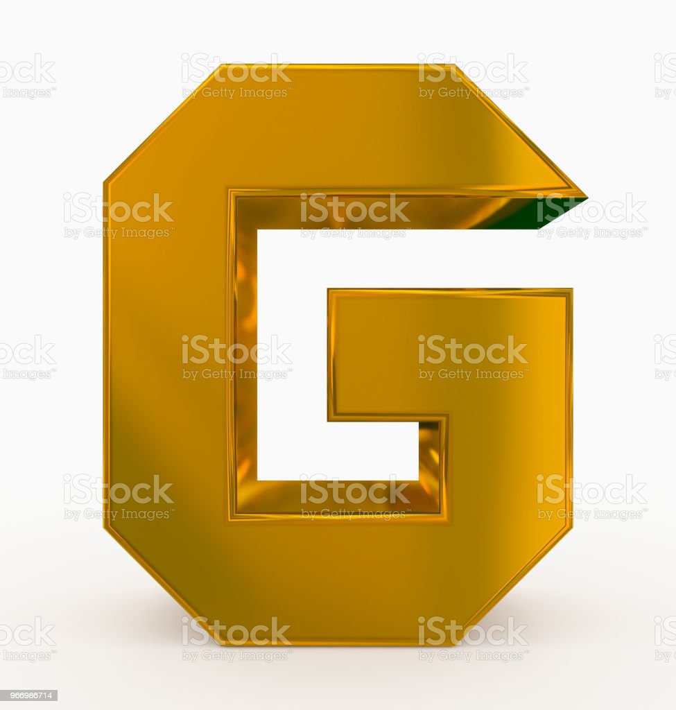 letter G 3d cubic golden isolated on white stock photo