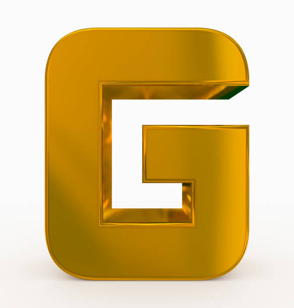letter G 3d cubic rounded golden isolated on white stock photo