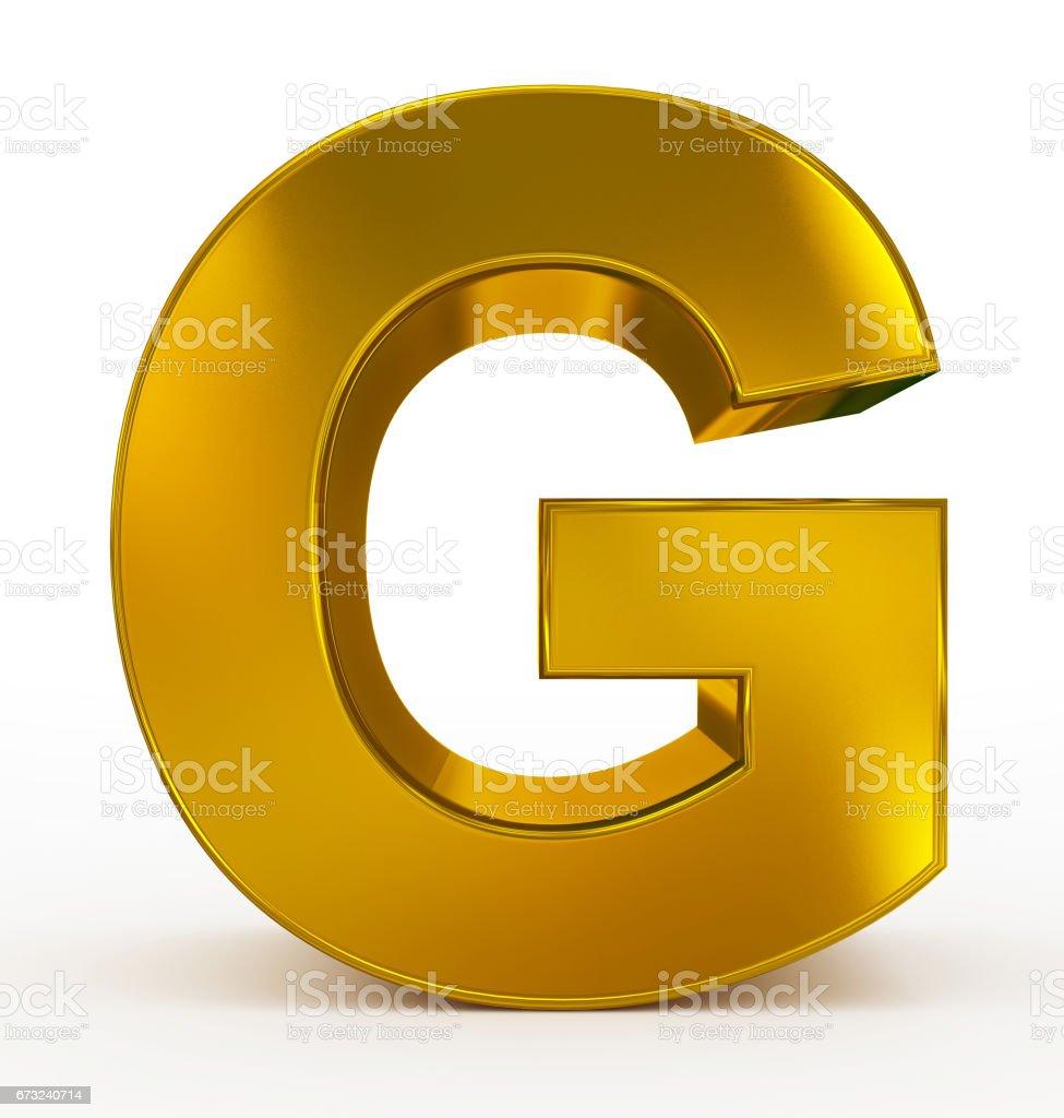 letter G 3d golden isolated on white stock photo