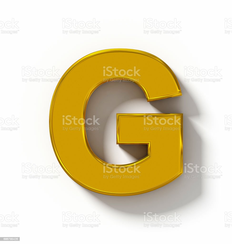 letter G 3D golden isolated on white with shadow - orthogonal projection stock photo