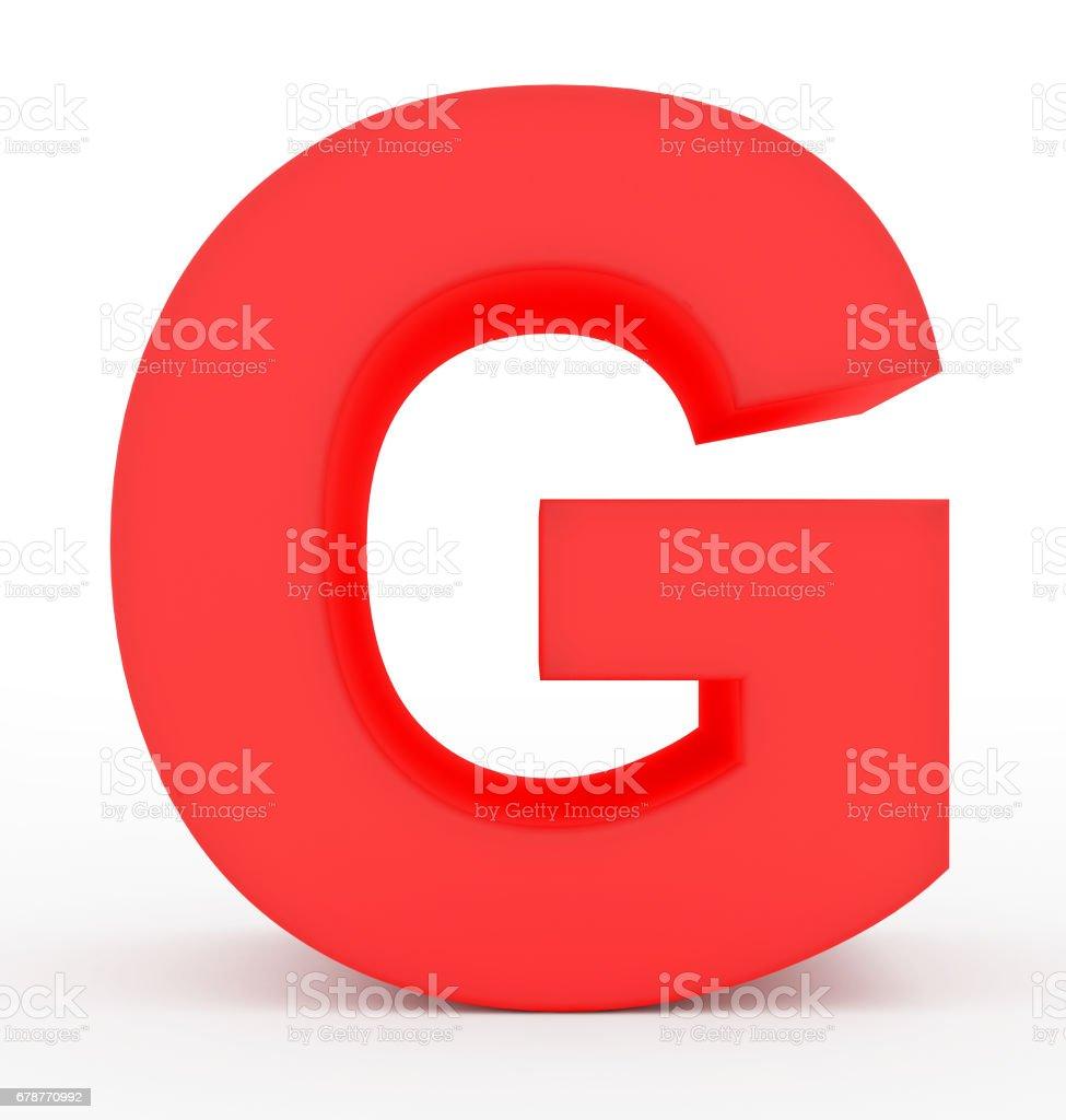 3d rouge lettre G, isolé sur blanc photo libre de droits