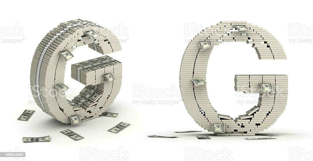 Letter G, alphabet from dollars paks royalty-free stock photo
