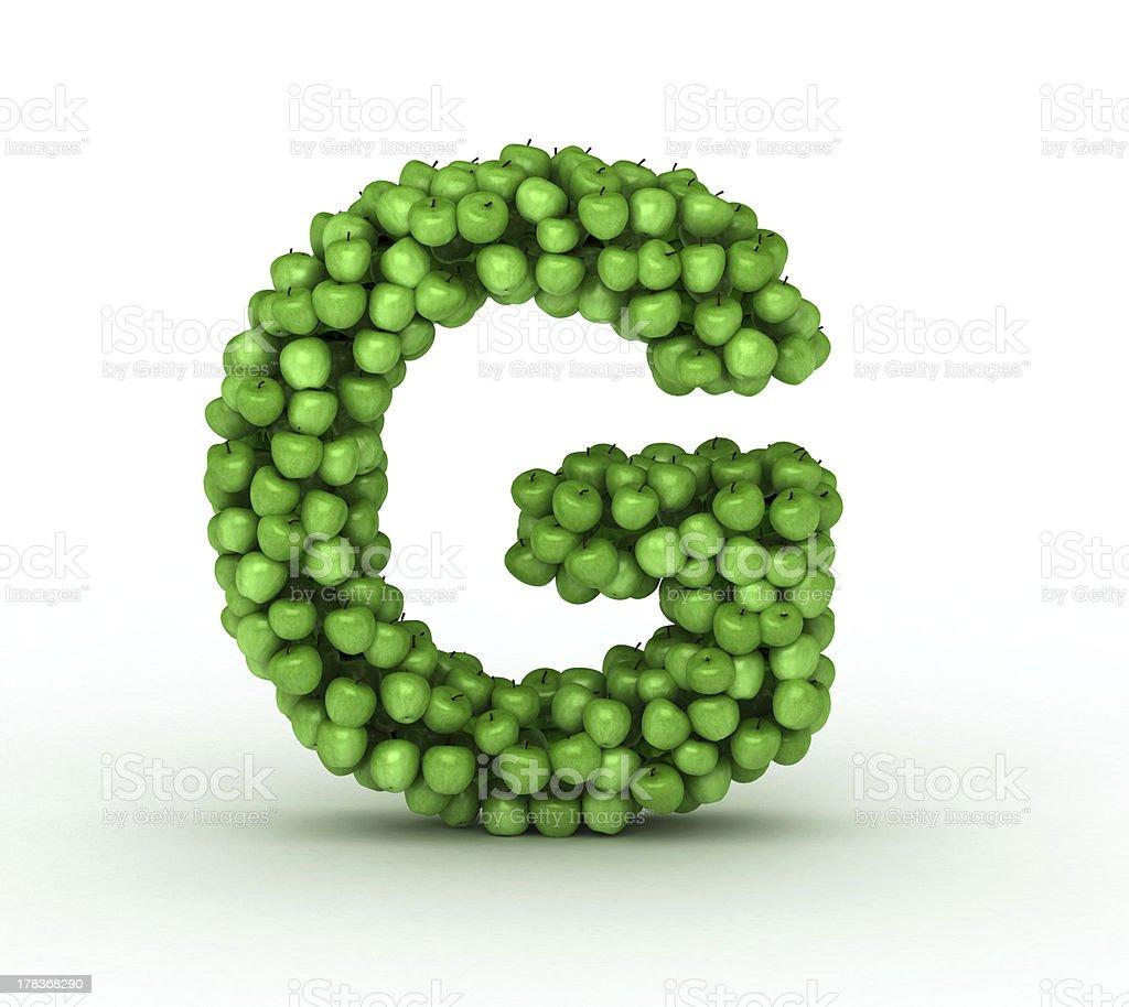 Letter G, alphabet of green apples stock photo