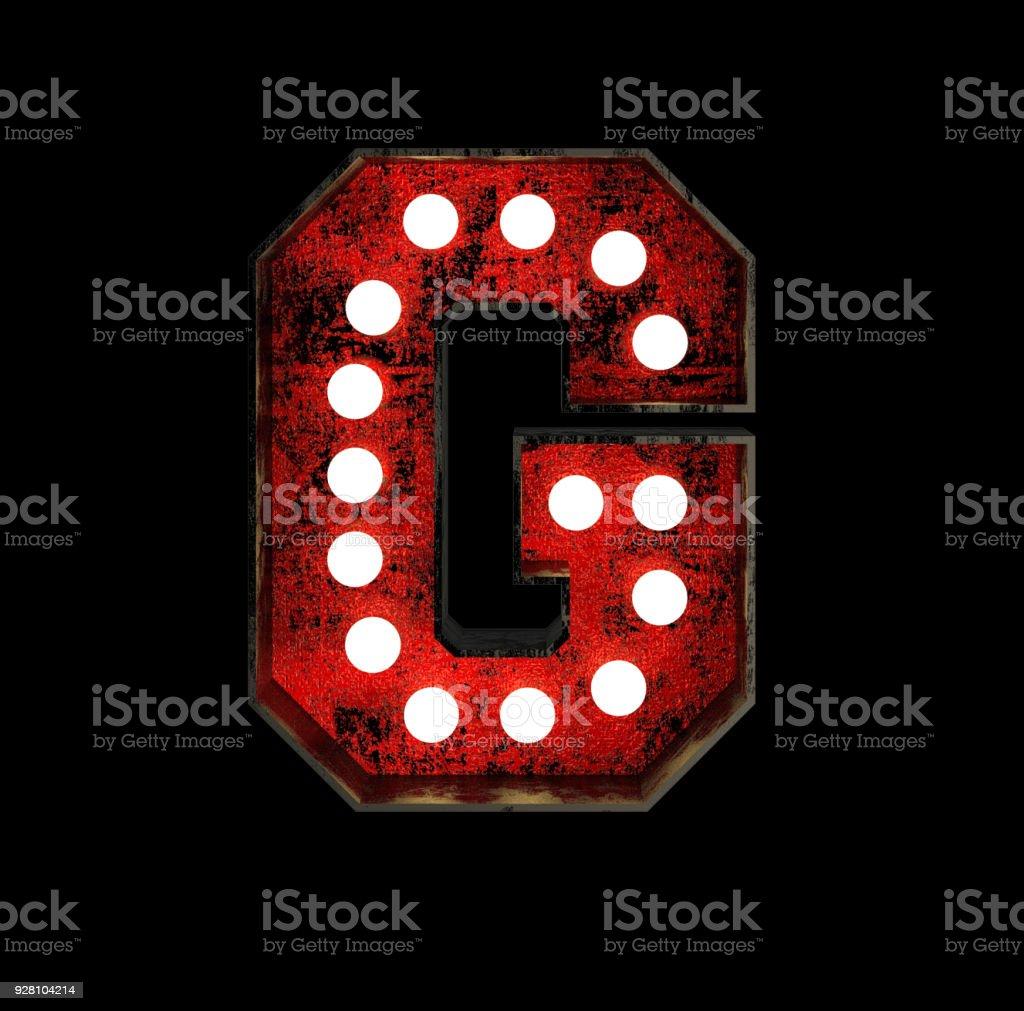 Letter G. Broadway Style Light Bulb Font stock photo