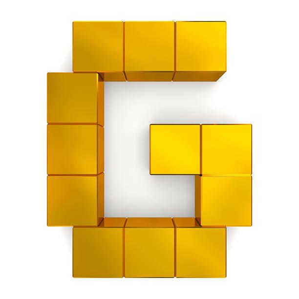 letter G cubic golden stock photo