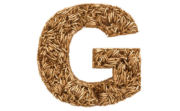 Letter G from bullets, 3D rendering isolated on white background stock photo