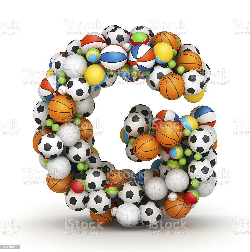Letter G, gaming balls alphabet stock photo