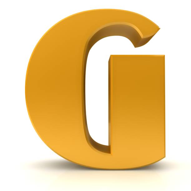 letter G gold 3d sign capital letter text render graphic alphabetic characters icon isolated on white background stock photo