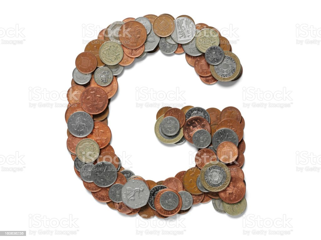 Letter G in British Currency stock photo