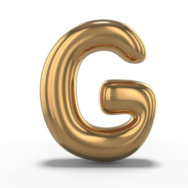Letter G made of inflatable balloon isolated on white background. 3D stock photo