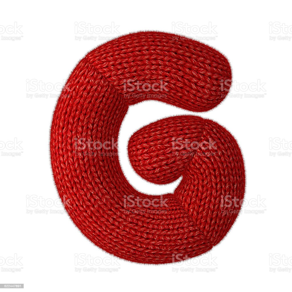 Letter G Made of Wool Knit Isolated on White Background stock photo
