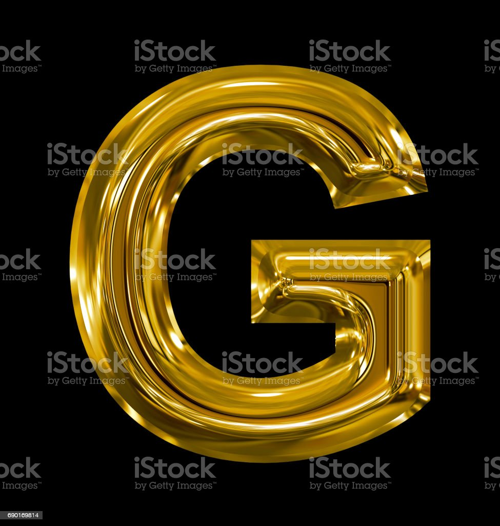 letter G rounded shiny golden isolated on black stock photo