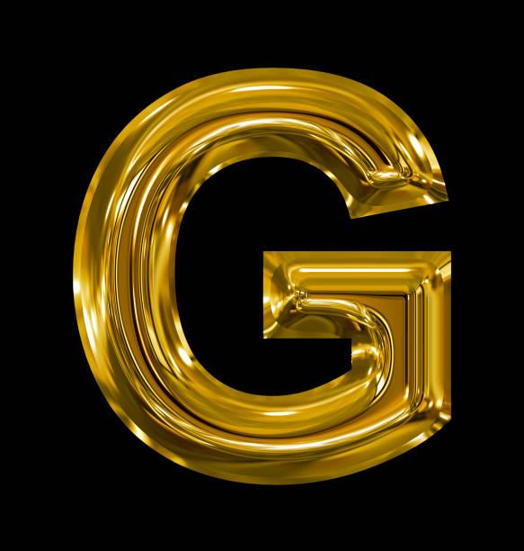 letter G rounded shiny golden isolated on black stock photo