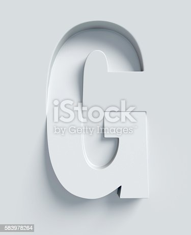 istock Letter G slanted 3d font engraved and extruded from surface 583978264