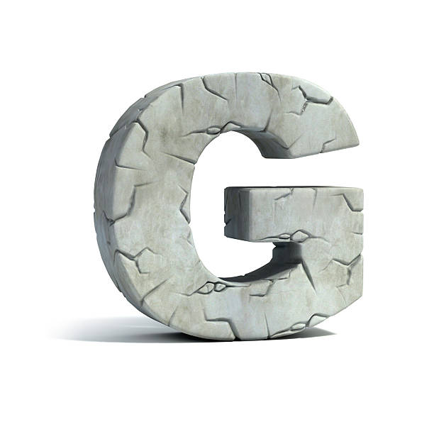 letter g stone 3d font - stone font stock photos and pictures