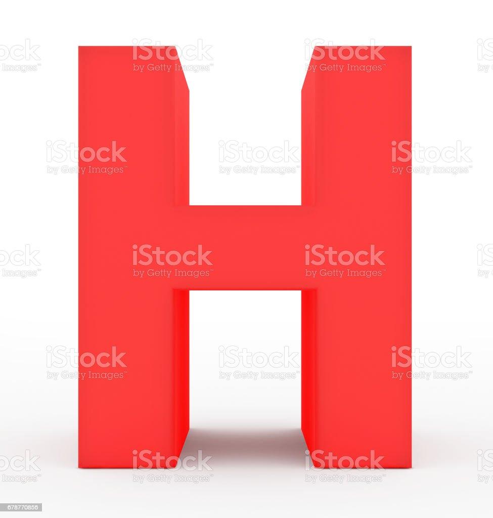 rouge 3d lettre H isolé sur blanc photo libre de droits