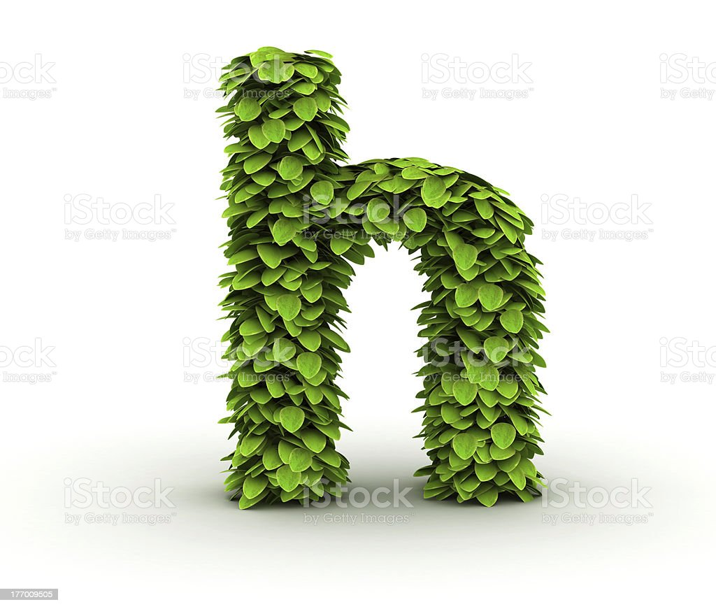 Letter h, alphabet of green leaves royalty-free stock photo