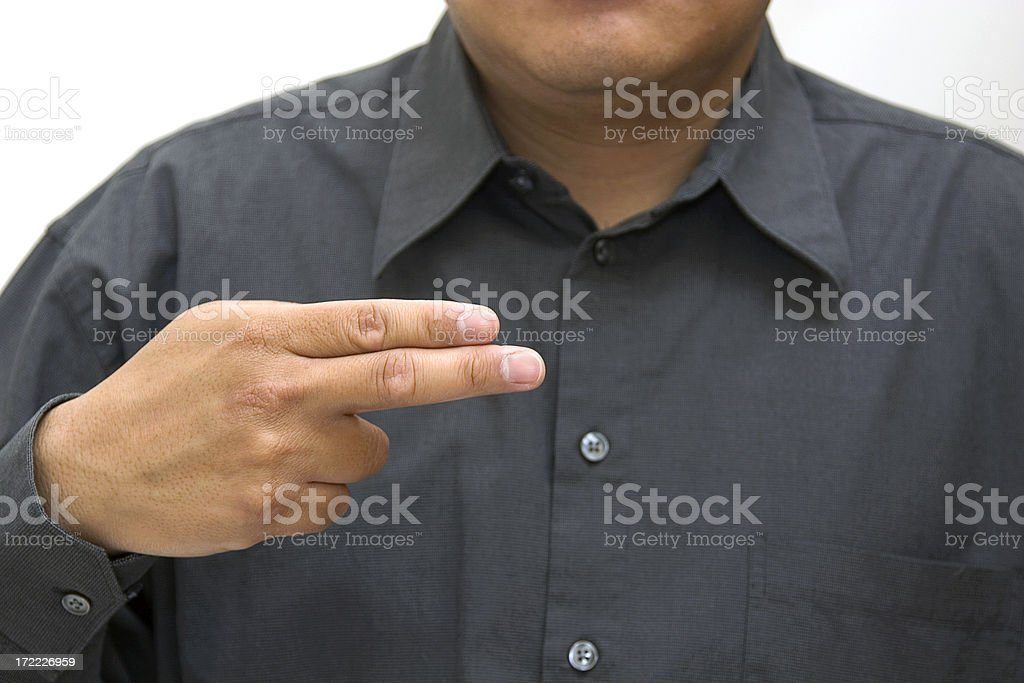 letter h american sign language royalty-free stock photo