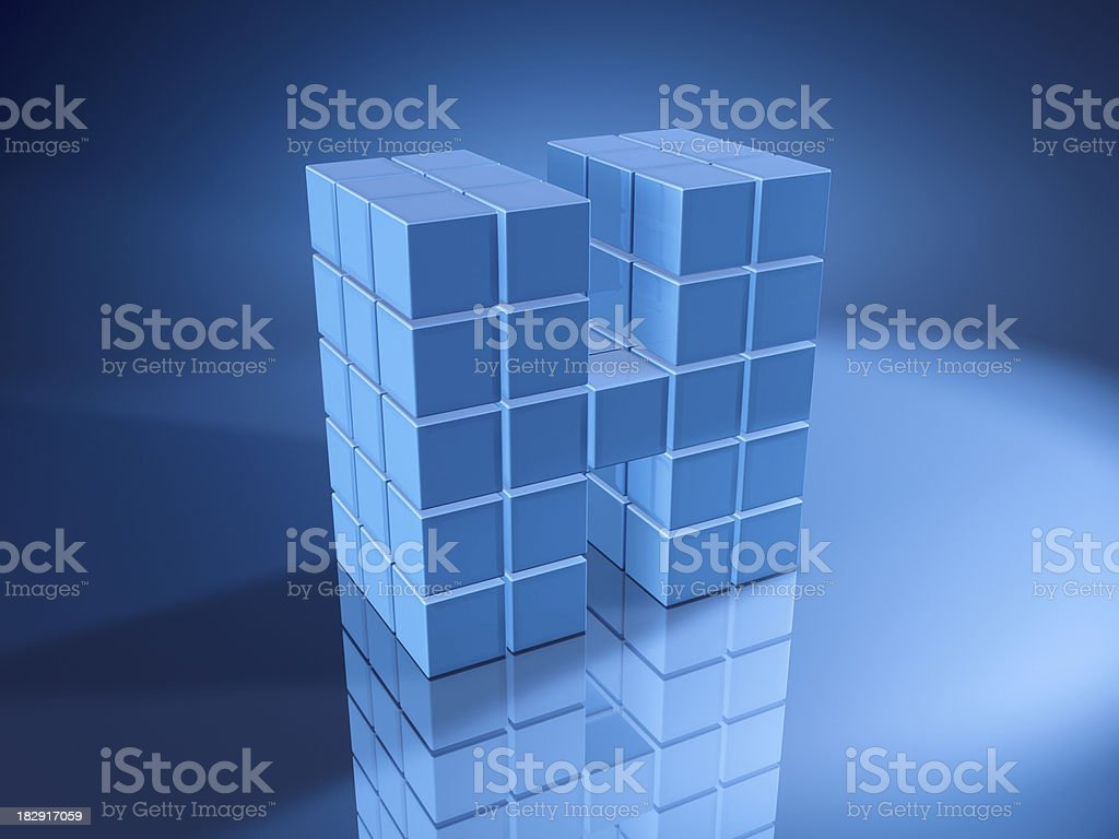 Letter H Blue Cubes royalty-free stock photo