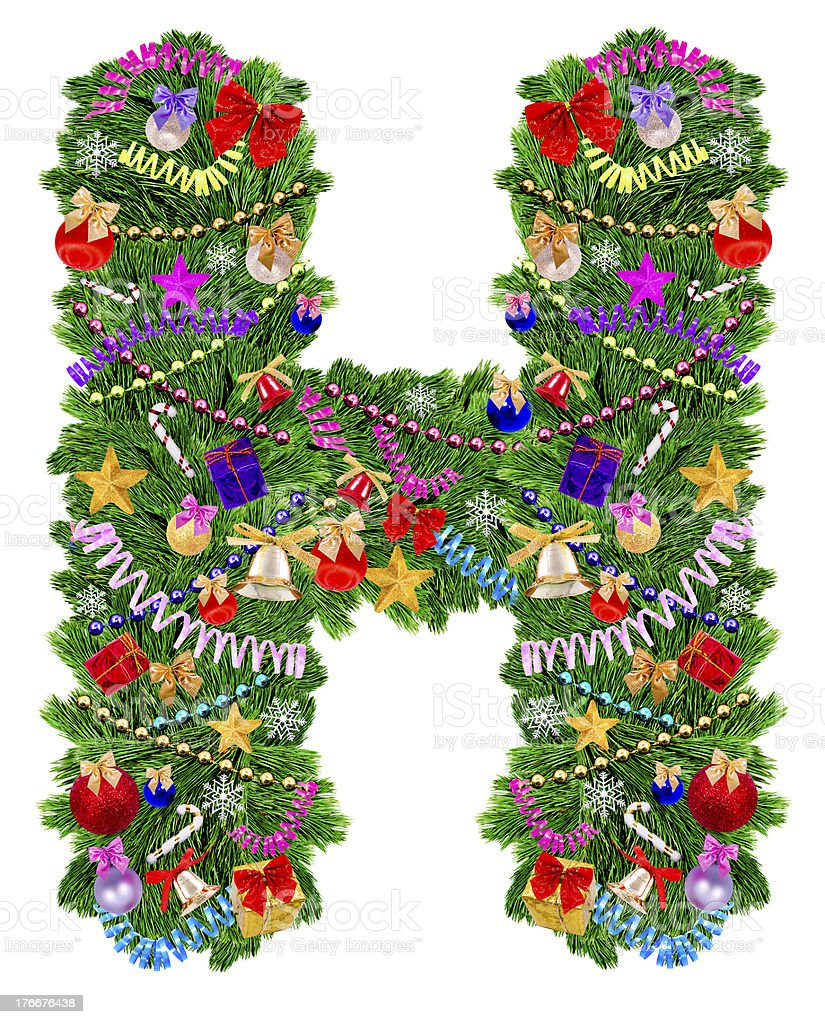 Letter H. Christmas tree decoration royalty-free stock photo