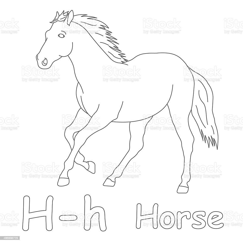 Lettera H Per Pagina Da Colorare Cavallo Fotografie Stock E Altre