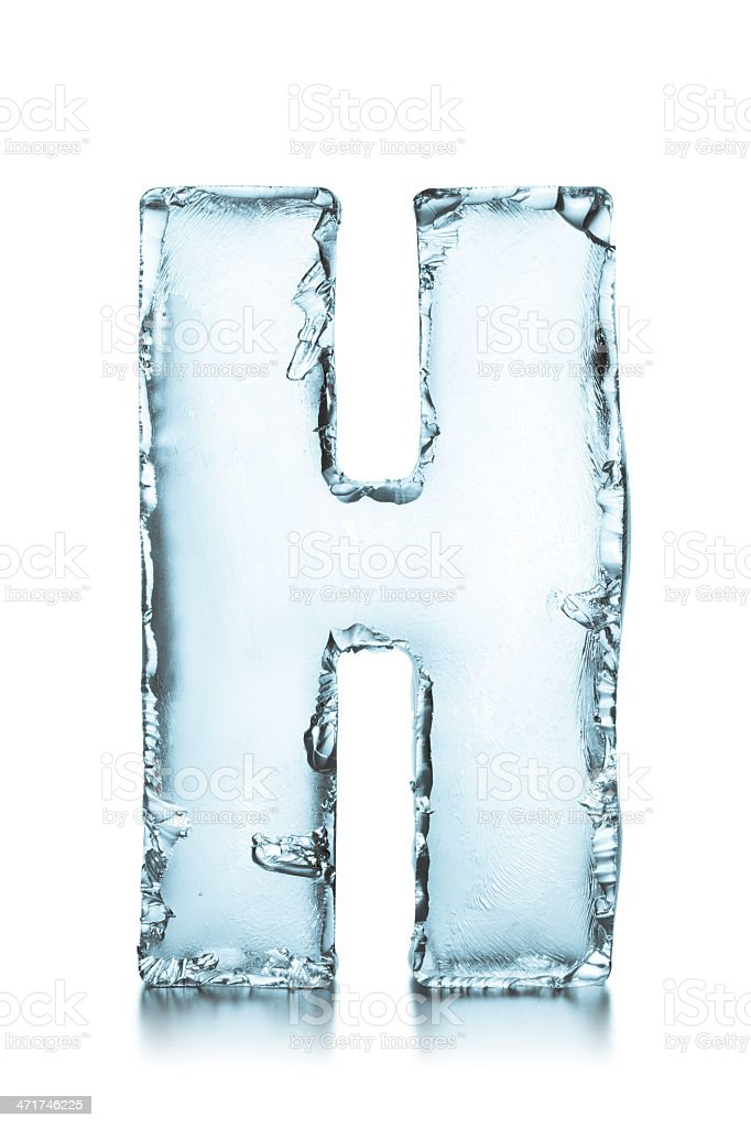 Letter H frozen ice block alphabet stock photo