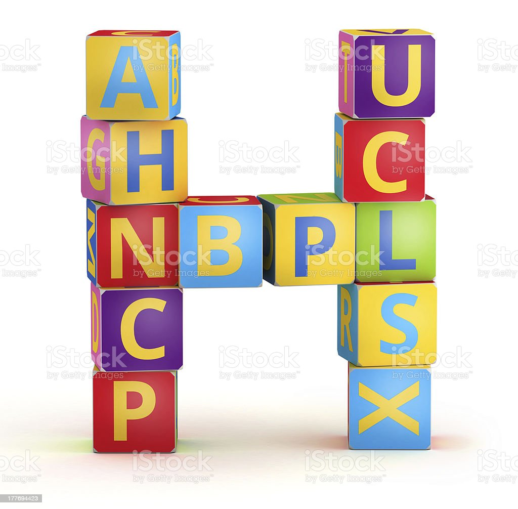 Letter H maked from abc cubes royalty-free stock photo