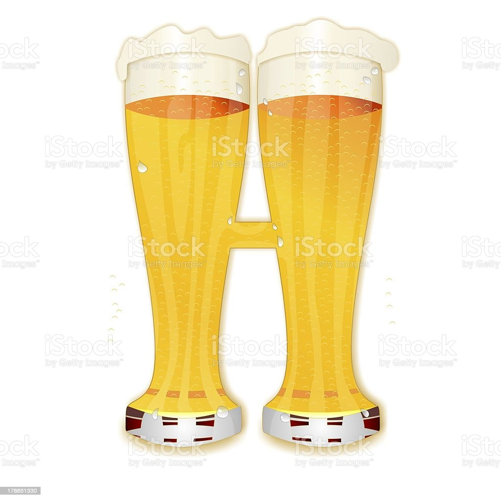 BEER ALPHABET letter H stock photo