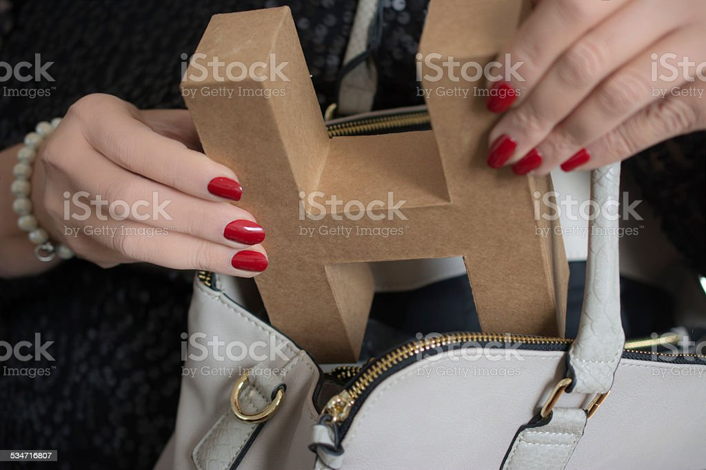Letter H purse stock photo