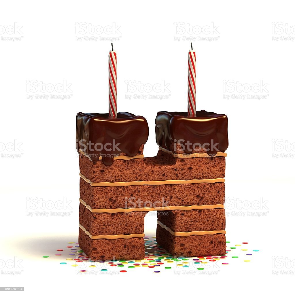 letter H shaped chocolate cake stock photo