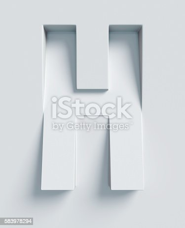 istock Letter H slanted 3d font engraved and extruded from surface 583978294
