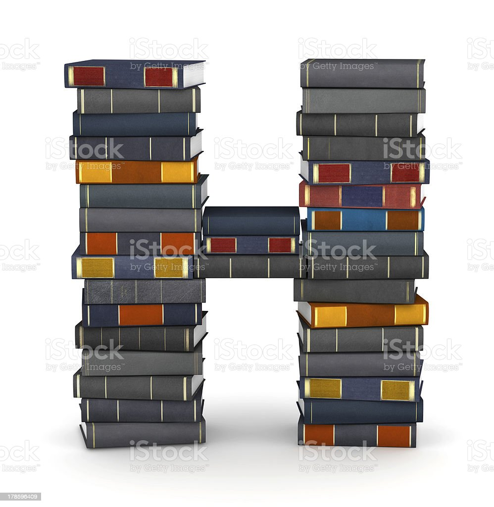 Letter H, stacked from books royalty-free stock photo