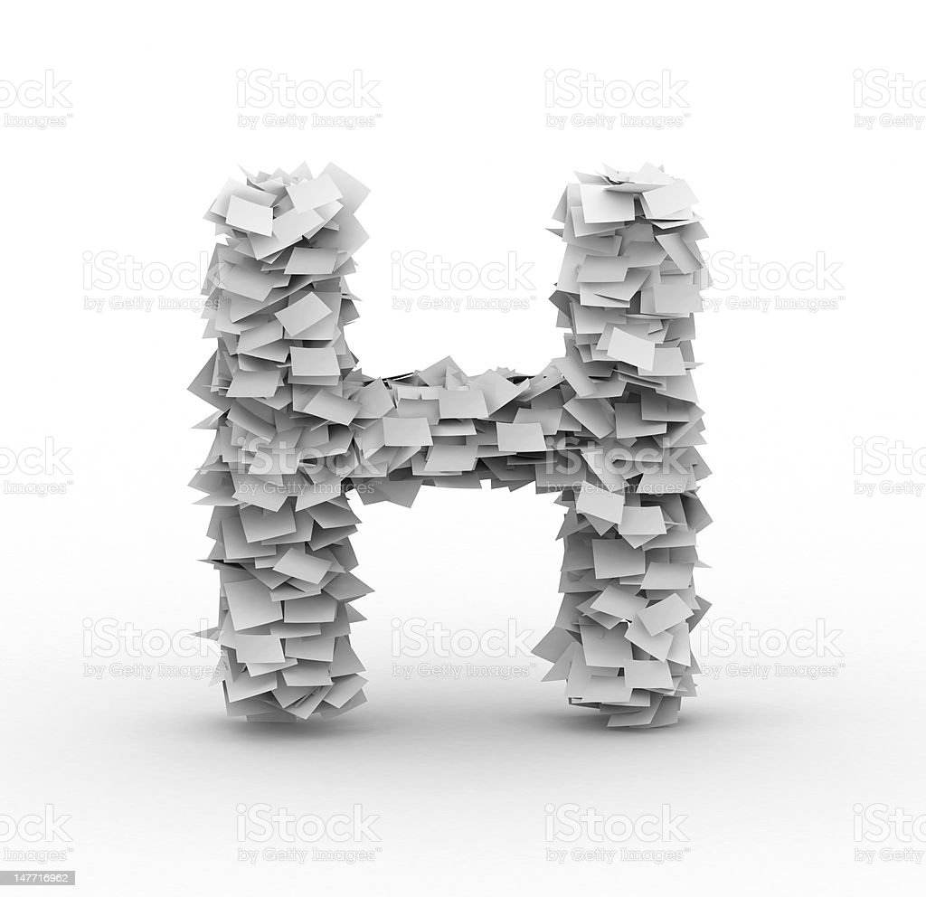 Letter H, stacked from paper sheets royalty-free stock photo